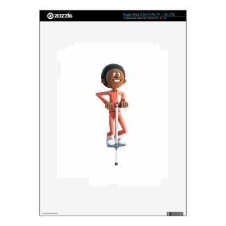 Cartoon African American Boy on a Pogo Stick Skin For iPad 3