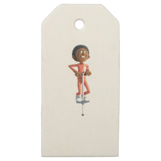 Cartoon African American Boy on a Pogo Stick Wooden Gift Tags