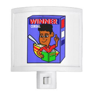 Cartoon African American Boy on Cereal Box Night Light