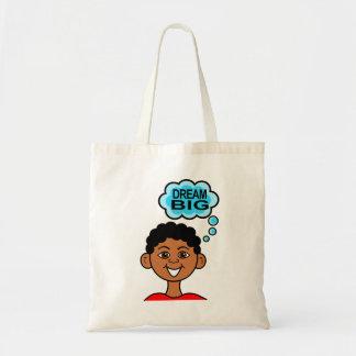Cartoon African American Boy Smiling Dream Big Tote Bag