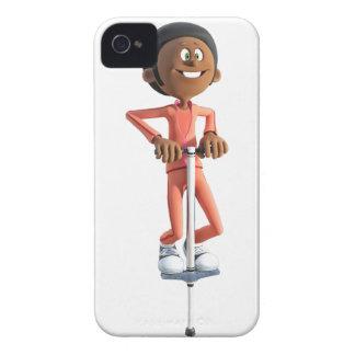 Cartoon African American Boy Using A Pogo Stick iPhone 4 Case
