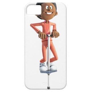 Cartoon African American Boy Using A Pogo Stick iPhone SE/5/5s Case