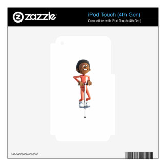 Cartoon African American Boy Using A Pogo Stick Skins For iPod Touch 4G