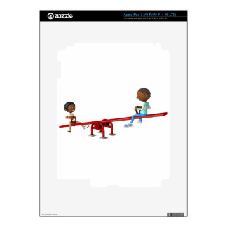 Cartoon African American Children on a See Saw iPad 3 Decals