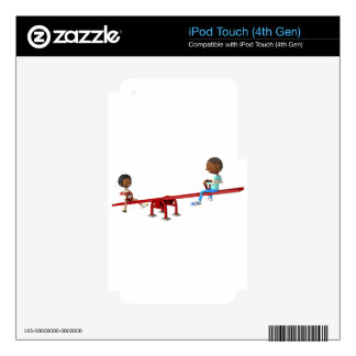 Cartoon African American Children on a See Saw iPod Touch 4G Decals