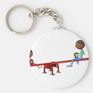Cartoon African American Children on a See Saw Keychain