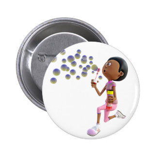 Cartoon African American Girl Blowing Bubbles Button