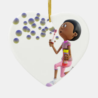 Cartoon African American Girl Blowing Bubbles Ceramic Ornament