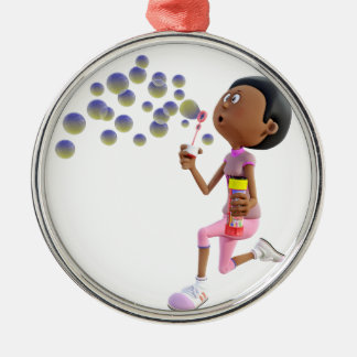 Cartoon African American Girl Blowing Bubbles Metal Ornament