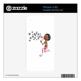 Cartoon African American Girl Blowing Bubbles Skin For iPhone 4