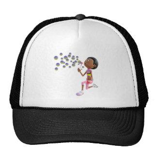 Cartoon African American Girl Blowing Bubbles Trucker Hat