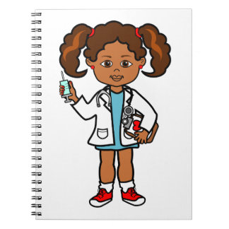 Cartoon African American Girl Doctor with Needle Notebook