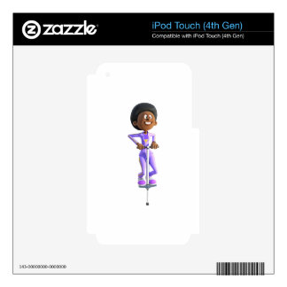 Cartoon African American Girl riding a Pogo Stick Decal For iPod Touch 4G