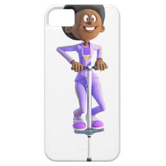 Cartoon African American Girl riding a Pogo Stick iPhone SE/5/5s Case