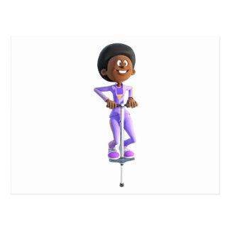 Cartoon African American Girl riding a Pogo Stick Postcard