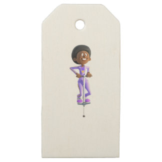Cartoon African American Girl riding a Pogo Stick Wooden Gift Tags
