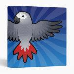 Cartoon African Grey / Amazon / Parrot 3 Ring Binder