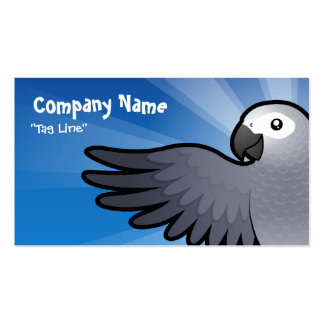 Cartoon African Grey / Amazon / Parrot Double-Sided Standard Business Cards (Pack Of 100)