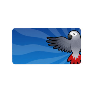Cartoon African Grey / Amazon / Parrot Address Label