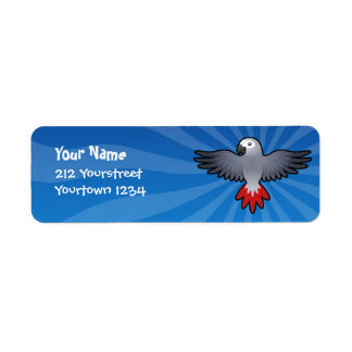 Cartoon African Grey / Amazon / Parrot Return Address Label
