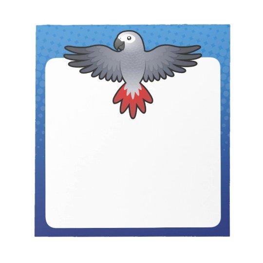 Cartoon African Grey / Amazon / Parrot Notepad
