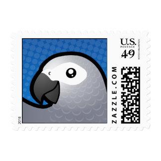 Cartoon African Grey / Amazon / Parrot Postage Stamp