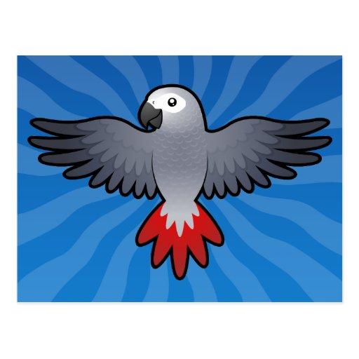 Cartoon African Grey / Amazon / Parrot Postcard