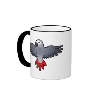 Cartoon African Grey / Amazon / Parrot Ringer Coffee Mug