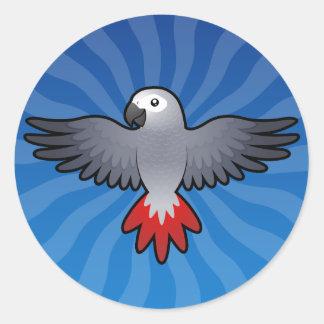 Cartoon African Grey / Amazon / Parrot Classic Round Sticker