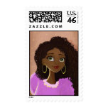 cartoon African young woman Postage
