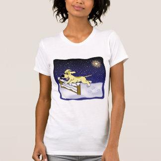 Cartoon Agility Dog Christmas Ladies Tshirt