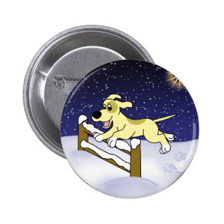 Cartoon Agility Dog Christmas Pinback Button
