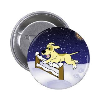 Cartoon Agility Dog Christmas Pinback Buttons