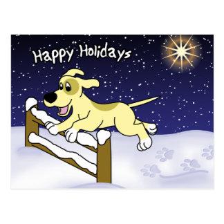 Cartoon Agility Dog Christmas Post Card