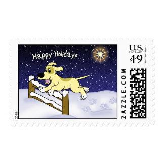Cartoon Agility Dog Christmas Postage Stamps