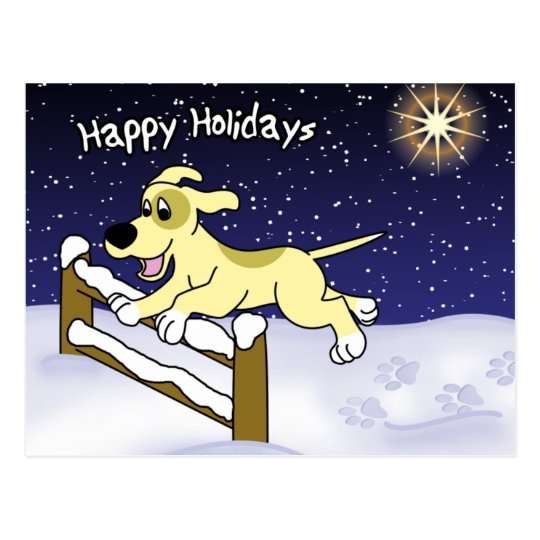 Cartoon Agility Dog Christmas Postcard