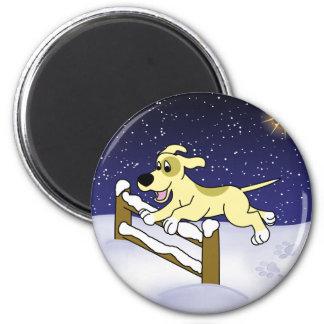 Cartoon Agility Dog Christmas Refrigerator Magnet