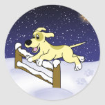 Cartoon Agility Dog Christmas Round Stickers