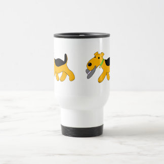 Cartoon Airedale Dog With Hat Commuter Mug