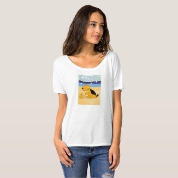 Beach Themed Cartoon Airedale Terrier Dog at Beach T-Shirt