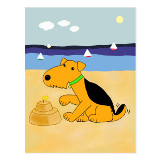 Cartoon Airedale Terrier Dog at the Beach postcard