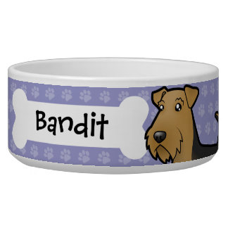 Cartoon Airedale Terrier / Welsh Terrier Bowl