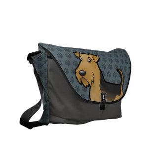 Cartoon Airedale Terrier / Welsh Terrier Messenger Bags