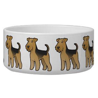 Cartoon Airedale Terrier / Welsh Terrier Pet Bowl
