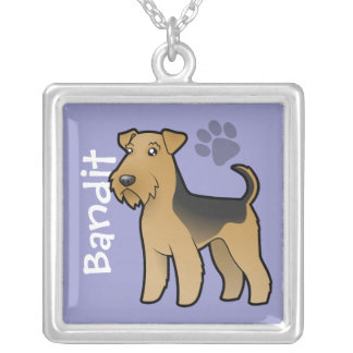 Cartoon Airedale Terrier / Welsh Terrier Silver Plated Necklace