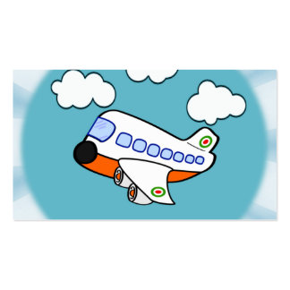 Cartoon Airplane in Clouds with Sunburst Business Cards