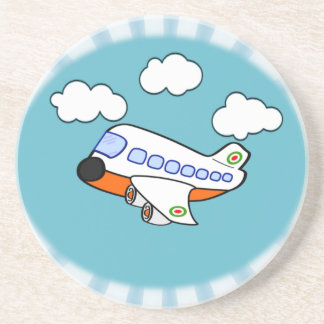 Cartoon Airplane in Clouds with Sunburst Coaster