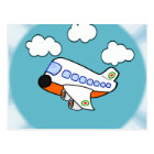 Cartoon Airplane in Clouds with Sunburst Postcard