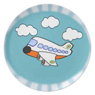 Cartoon Airplane Melamine Plate
