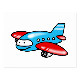 cartoon airplane postcard
